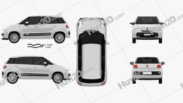 Fiat 500L 2013 Clipart Image