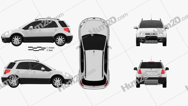 Fiat Sedici 2010 Clipart Image