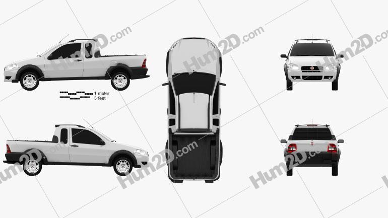 Fiat Strada Crew Cab Working 2012 Clipart Image