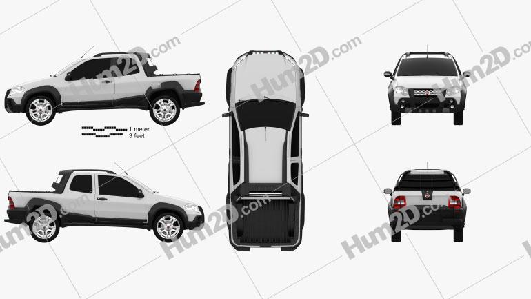 Fiat Strada Long Cab Adventure 2012 car clipart