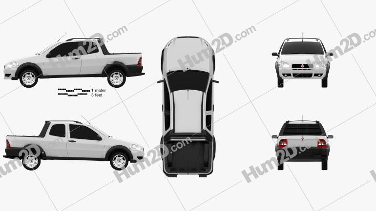 Fiat Strada Long Cab Working 2012 car clipart