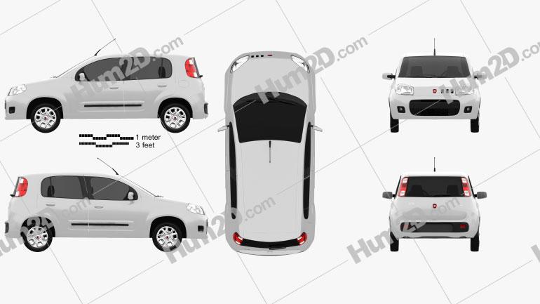 Fiat Uno Attractive Schrägheck 5-türig 2013 Clipart Bild