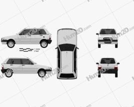 Fiat Mille Economy (Uno) 2012 car clipart