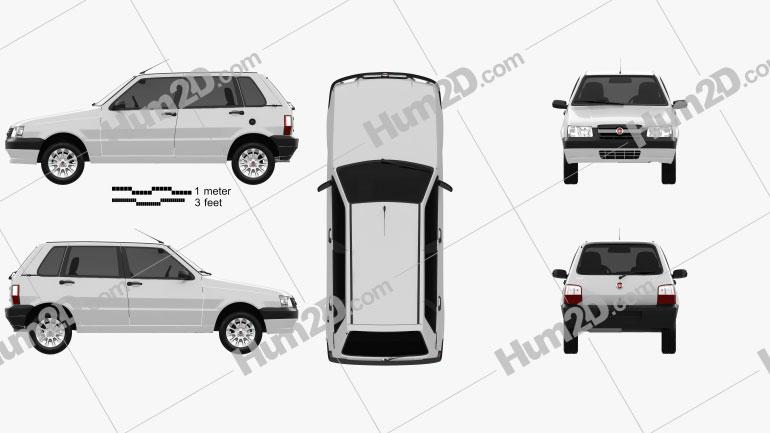 Fiat Mille Economy (Uno) 2012 Clipart Image