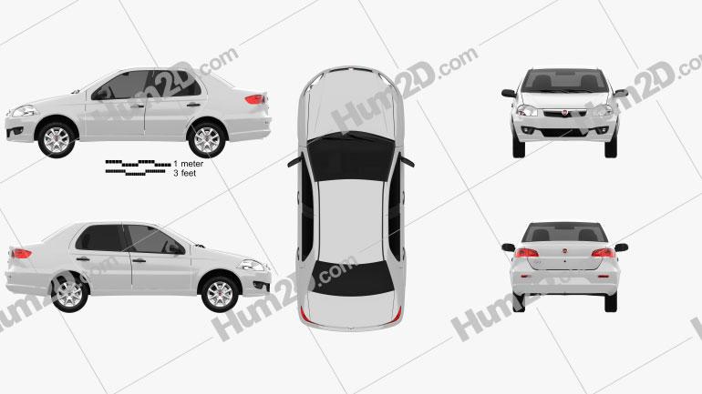 Fiat Siena 2009 car clipart