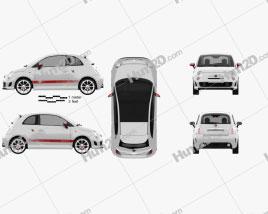 Fiat 500 Abarth 2012 car clipart