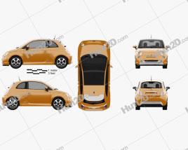 Fiat 500 E 2012 car clipart