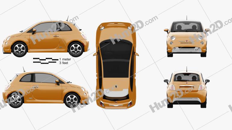 Fiat 500 E 2012 Clipart Image