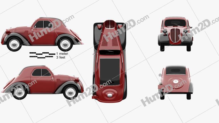 Fiat 500 Topolino 1936 car clipart