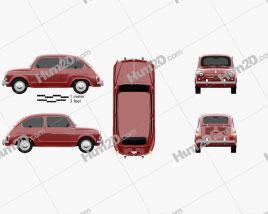 Fiat 600 D 1960 car clipart