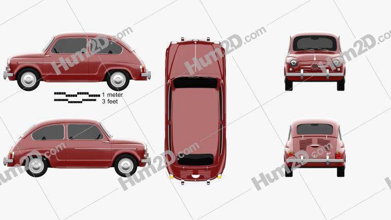 Fiat 600 D 1960 Clipart Image
