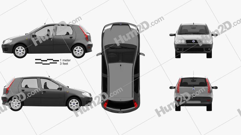 Fiat Punto 5-door 2003 car clipart