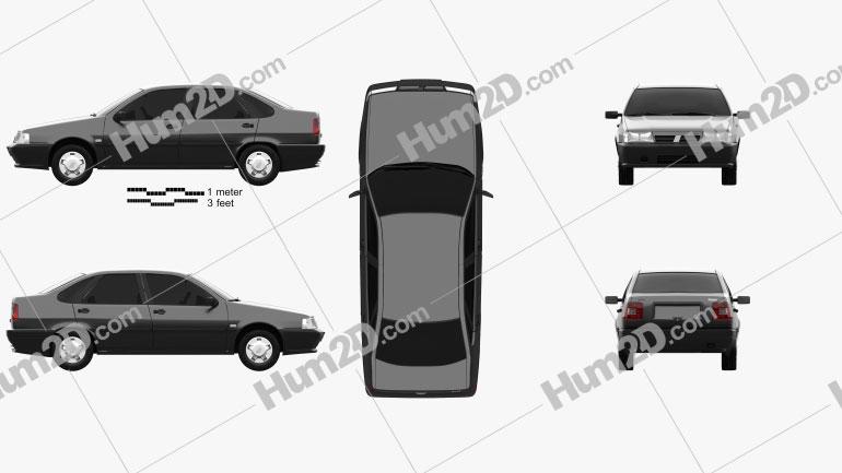 Fiat Tempra 1990 Clipart Image