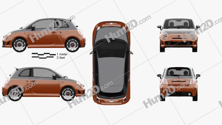 Fiat 500 Abarth 595 Turismo 2014 Clipart Image