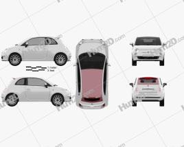 Fiat 500 C 2009 car clipart
