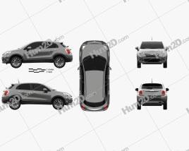 Fiat 500X 2015 car clipart