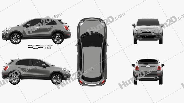 Fiat 500X 2015 Clipart Image
