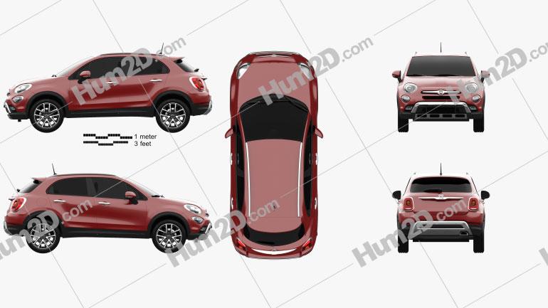 Fiat 500X Cross 2015 car clipart