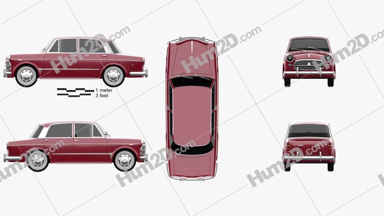Fiat 1200 Granluce 1957 car clipart