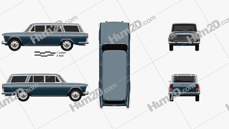 Fiat 2300 Familiare 1963 car clipart