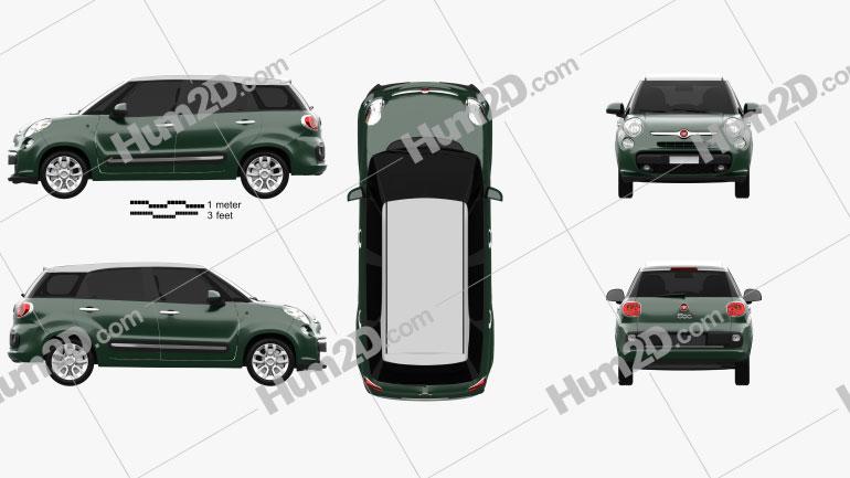 Fiat 500L (330) Living 2013 Clipart Image