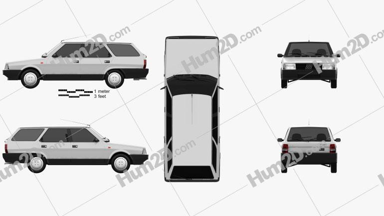 Fiat Regata Weekend 1984 car clipart