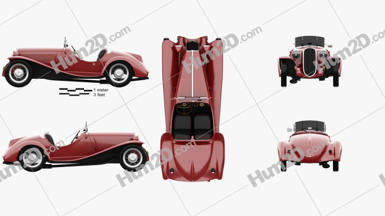 Fiat 508 S Balilla spyder 1932 car clipart