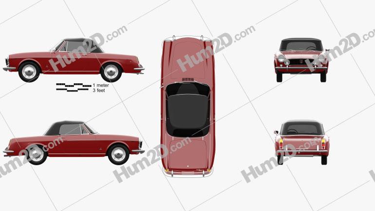 Fiat 1600 S Cabriolet 1963 car clipart
