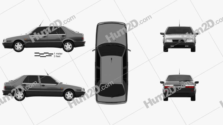 Fiat Croma (154) 1993 car clipart