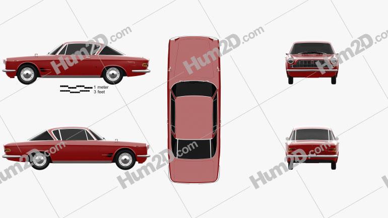Fiat 2300 S coupe 1961 car clipart