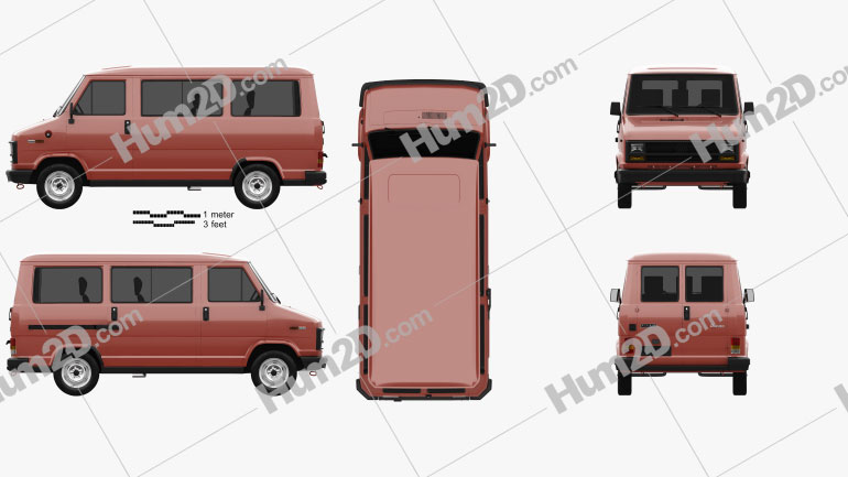 Fiat Ducato Passenger Van 1981 Clipart Image