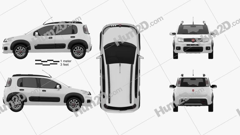 Fiat Uno Way 2015 Clipart Image