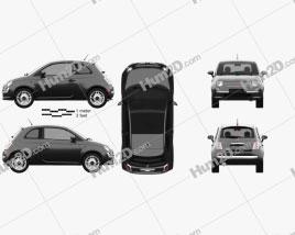Fiat 500 Trendy 2015 car clipart