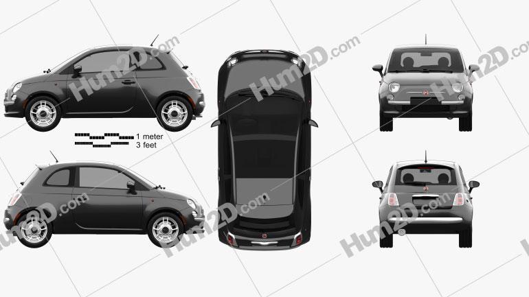 Fiat 500 Trendy 2015 Clipart Image