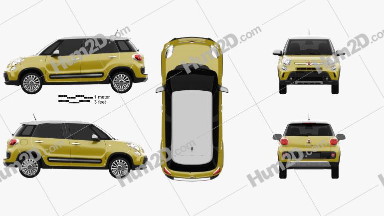 Fiat 500L Trekking 2013 Clipart Image