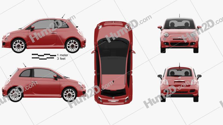 Fiat 500 Sport 2014 Clipart Image