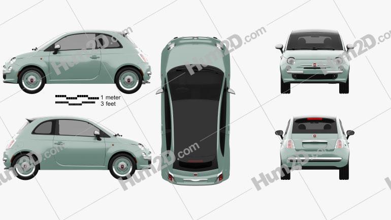 Fiat 500 C San Remo 2014 Clipart Image