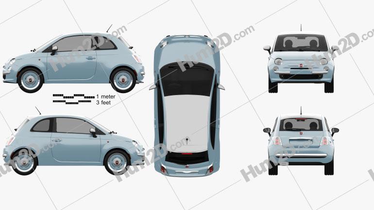 Fiat 500 San Remo 2014 Clipart Image