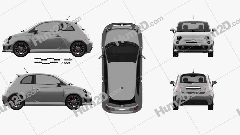 Fiat 500 Turbo 2014 Clipart Image