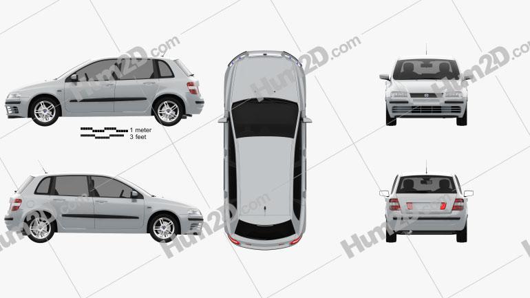Fiat Stilo de 5 portas 2001 car clipart