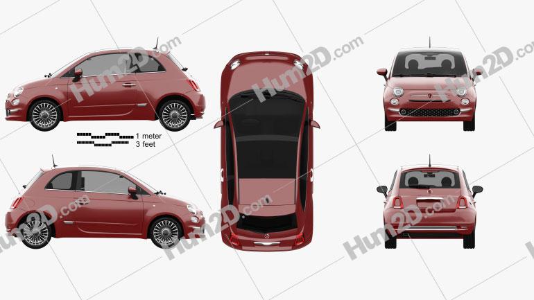 Fiat 500 2015 car clipart