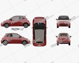 Fiat 500 C 2015 car clipart