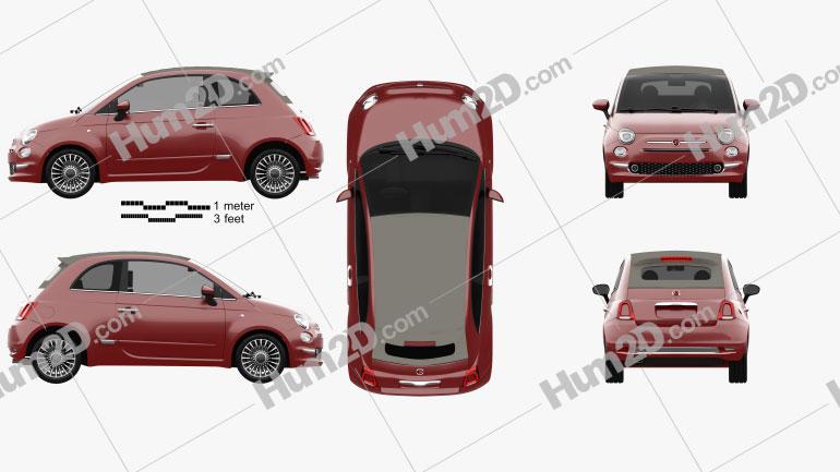 Fiat 500 C 2015 Clipart Image