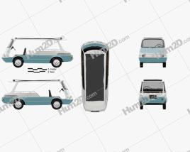 Fiat 600 Multipla Marinella 1958 clipart