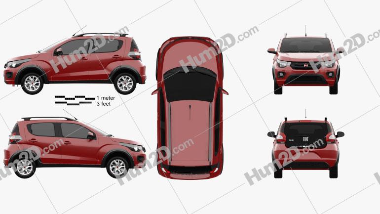 Fiat Mobi Way On 2017 Clipart Bild