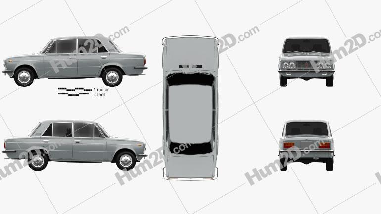 Fiat 125 1967 Clipart Image