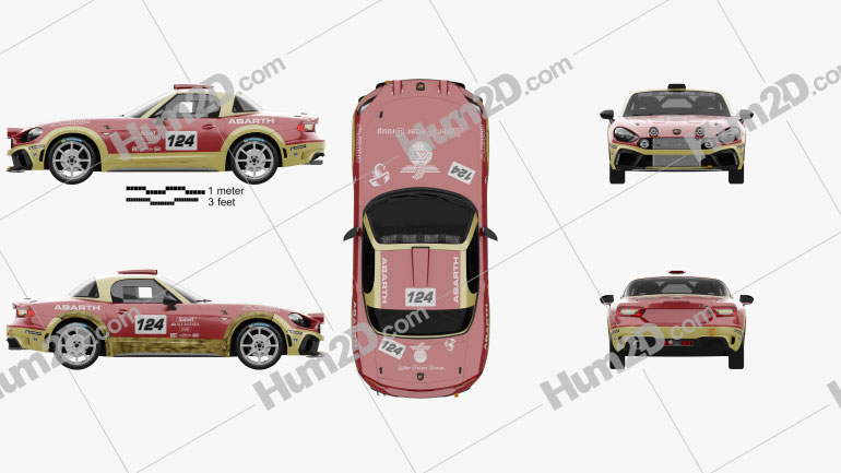 Fiat 124 Abarth Rally 2016 car clipart
