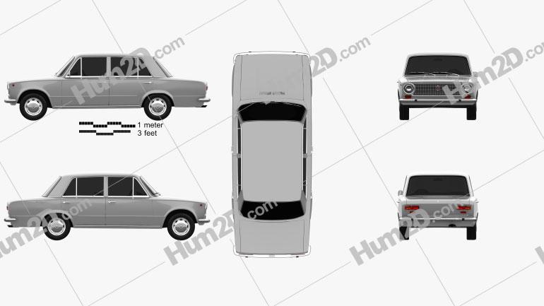 Fiat 124 1966 car clipart