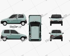 Fiat Cinquecento 1991 car clipart