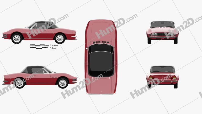 Fiat Dino Spider 2400 1969 car clipart